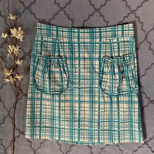 Anthro Sweet Retro-Vibe Teal/Cream Pouch Pocket S…